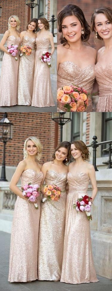 Gorgeous Sequin Elegant Sweet Heart Long Cheap Bridesmaid Dresses for Wedding