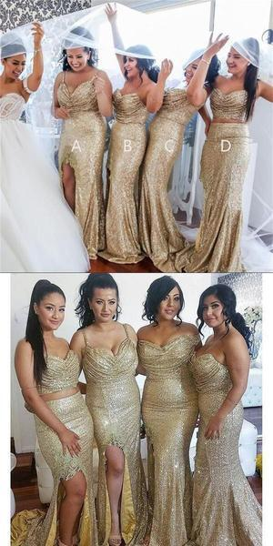Sequin Sparkly Side Slip New Different Style Custom Bridesmaid Dress, Wedding