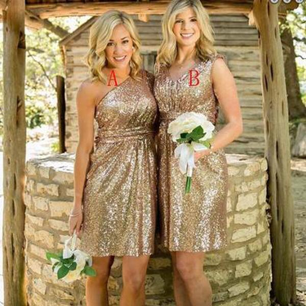 Mismatched Gold Sequin One Shoulder Shinning V-Neck Knee-Length Cheap Bridesmaid