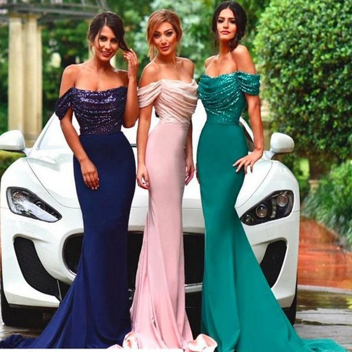 New Sexy Mermaid Straight Neck Sequin Top Long Bridesmaid Dresses Wedding Party