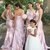 One Shoulder Mermaid Sexy Pink Long Bridesmaid Dresses with Handmade Flowers