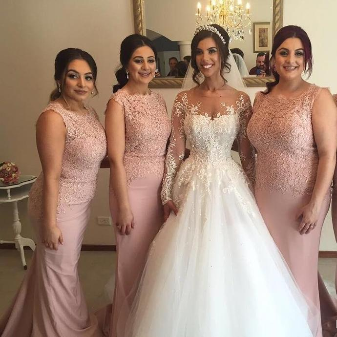 Custom Strapless Long Blush Pink Mermaid Top Lace Bridesmaid Dresses, Wedding