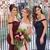Charming Stunning Burgundy/Navy Off the Shoulder Mermaid Bridesmaid Dress