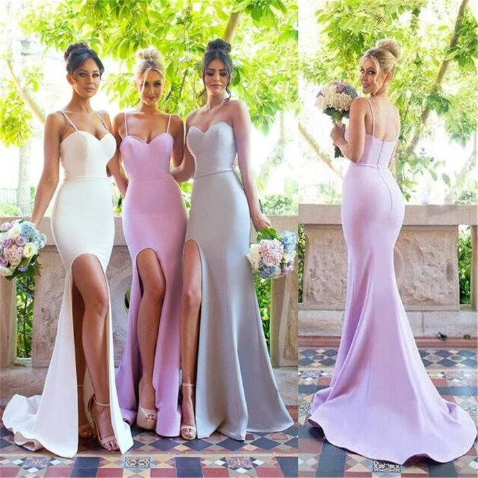 Spaghetti Straps Sweetheart Simple Bridesmaid Dresses with Small Train, Sexy