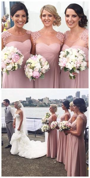 Pretty Charming Long Formal Chiffon Scoop Neck Bridesmaid Dresses for Wedding