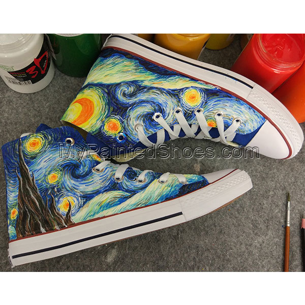 81708ed902 Men Women Chuck Sneakers Converse Custom Design Starry Night Hand Painted  Canvas Shoes High Top All Star Shoes