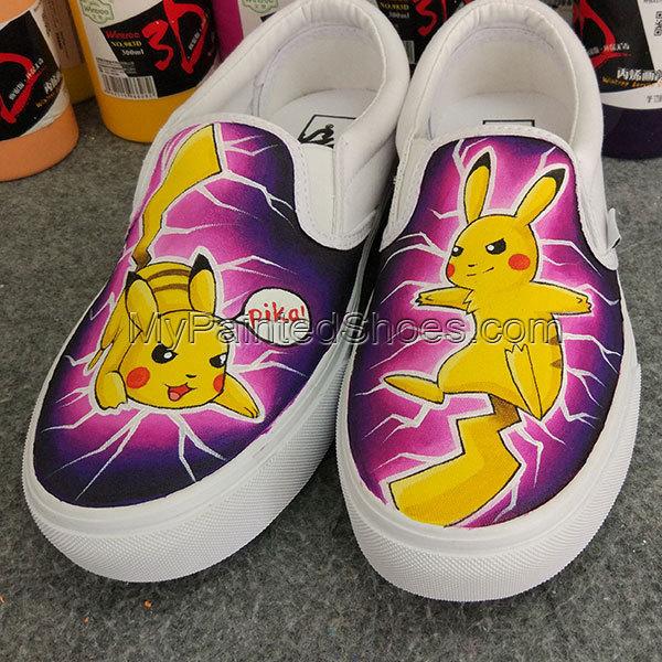 9b17f15bac90 Custom Pokemon Pikachu Anime Design Women Canvas Shoes Anime Shoes Hand  Painted