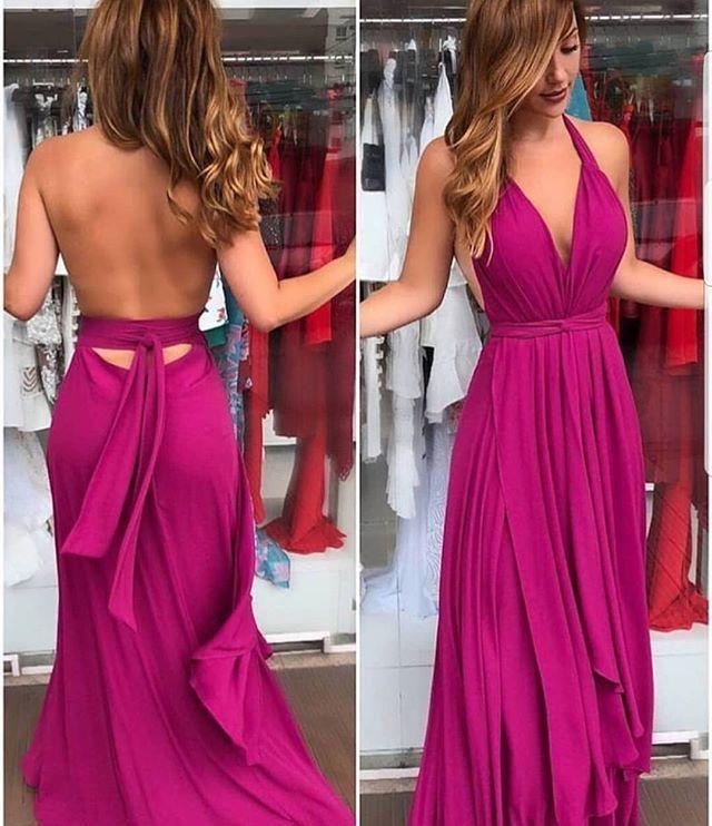 Fuchsia Prom Dress,Sexy Open Back Party Dress