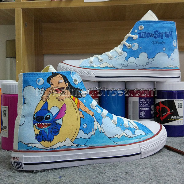 Lilo and Stitch Anime Shoes Design Stitch Painting Converse All Star Canvas