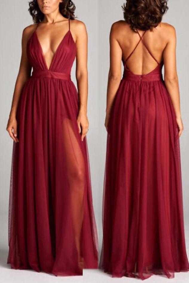 Simply Sexy Deep V Neck Burgundy Long Party Dress