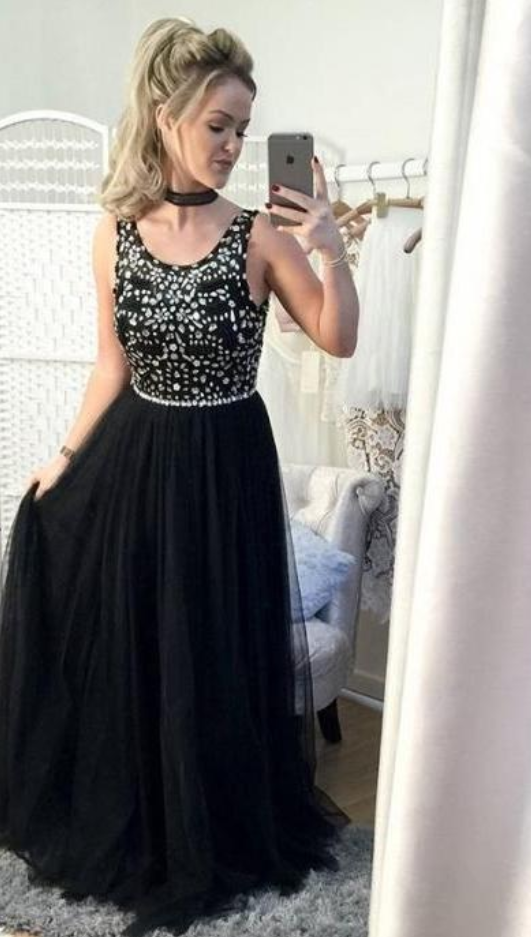 Beading Prom Gown, Black Prom Gowns, Sleeveless Prom Dress,Chiffon Evening Gown,