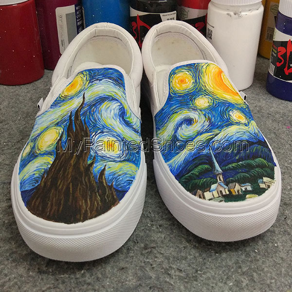707cabdf47df74 The Starry Night Vans Custom Vans Hand Painted Shoes Man Woman Birthday  Gifts