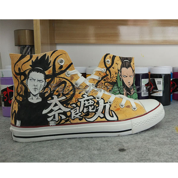 Men Women Shoes Anime Naruto Hand Painted Shoes All Black Converse Chuck Taylor
