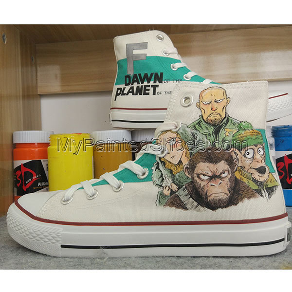 Original Design Hand Painted Planet of the Apes Graffiti Converse Shoes Chuck