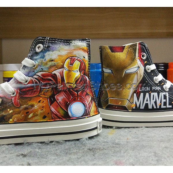 06a4bfd696c2b7 Converse All Star Iron Man Hand Painted Canvas Shoes Drawn Fashion Sneakers  High