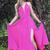 A-Line Spaghetti Straps Chiffon Long Prom Dress with Strappy Back,Long Fuchsia