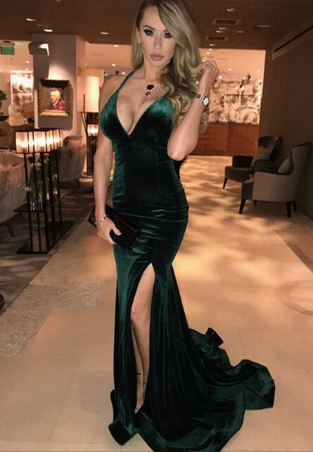 Long Dark Green Velvet Leg Split Mermaid Halter Prom Dresses 2018 Sexy Formal