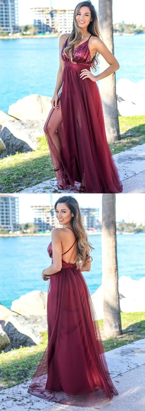 Spaghetti Straps Backless Prom Dresses, Sexy Deep V-Neck Sequin Prom Dresses,