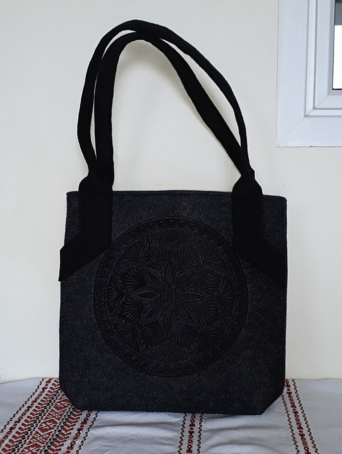 Elegant felt tote, shopper, handheld bag, comfortable&unique shopping