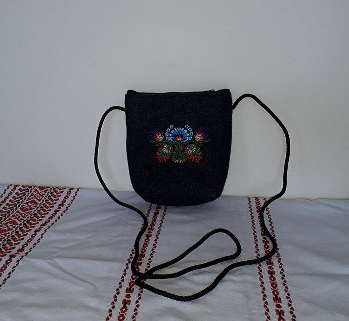 Felt bag, small mini crossbody bag with ethnic embroidery-Lowicz region in