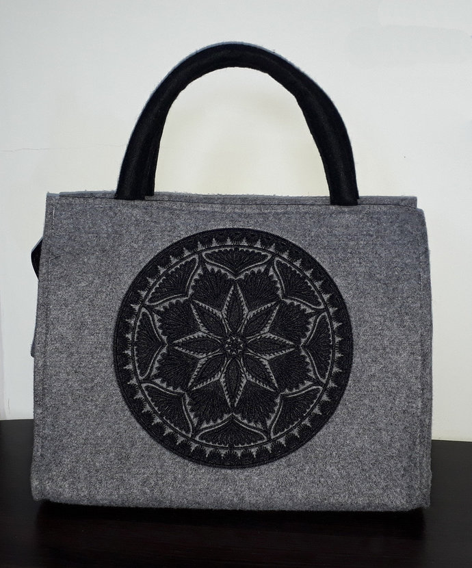 Elegant felt tote, shopper, handheld bag, comfortable & unique shopping
