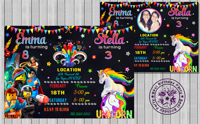 Combined Lego and Unicorn birthday invitation, Double birthday, Twins birthday