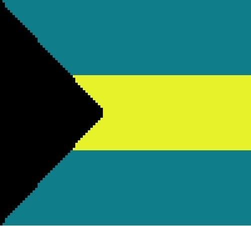 Bahamas Flag Crochet Pattern  (Graph, SC, C2C, Bobble stitch)