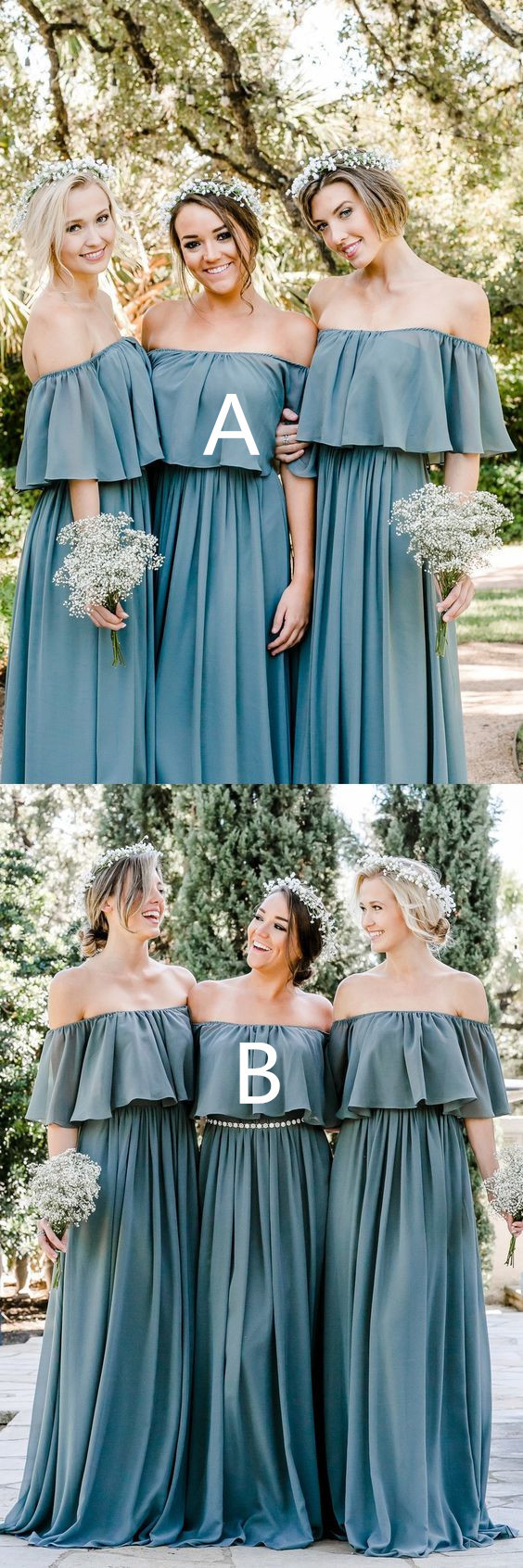 Off the Shoulder Bridesmaid Dresses, Ruffled Bridesmaid Dresses, Dusty Blue