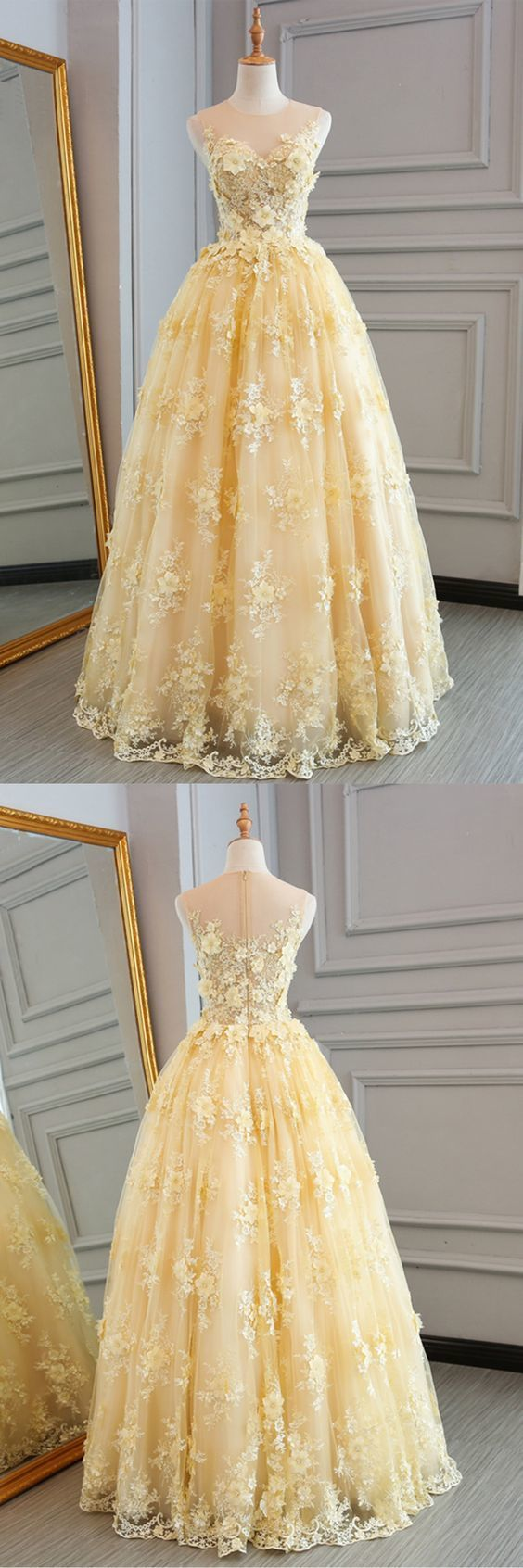 yellow lace customize long A-line senior prom dress, long lace halter evening