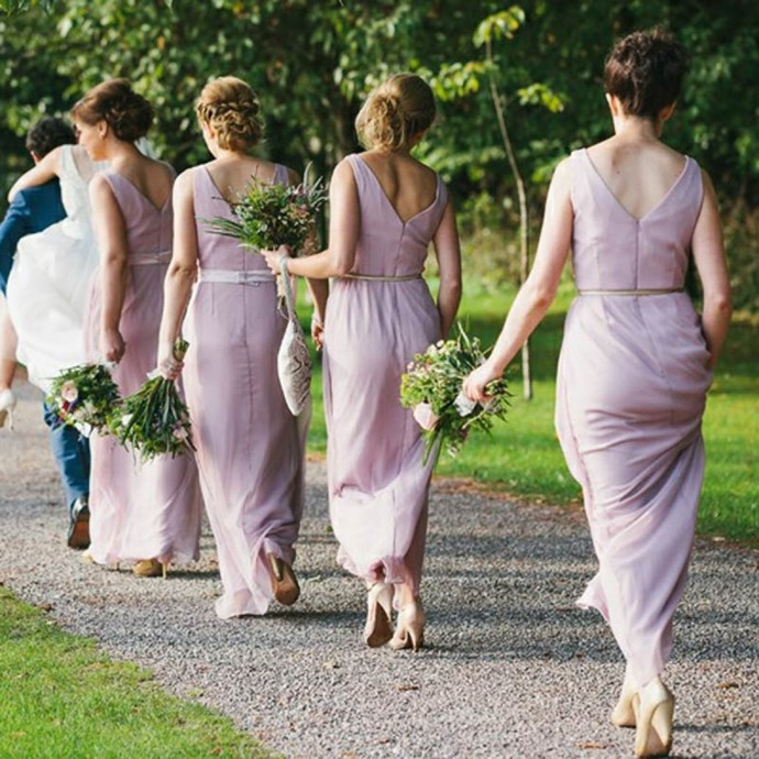 Lilac Chiffon Bridesmaid Dresses, Modest Bridesmaid Dresses Long, Lavender