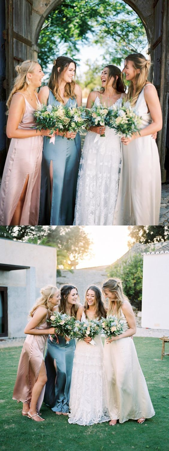 A-Line Pink Chiffon Long Bridesmaid Dresses, Mismatched Bridesmaid Dresses,