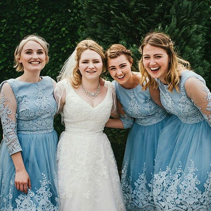 Round Neck 3/4 Sleeves Blue Tulle Bridesmaid Dress with Lace, Elegant Bridesmaid