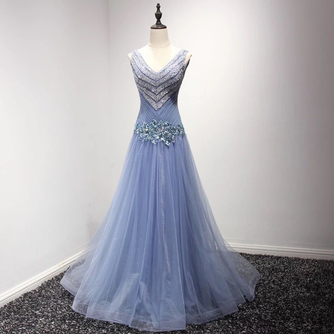 Newest V-Neck Beading A-Line Prom Dresses,Long Prom Dresses,Cheap Prom Dresses,