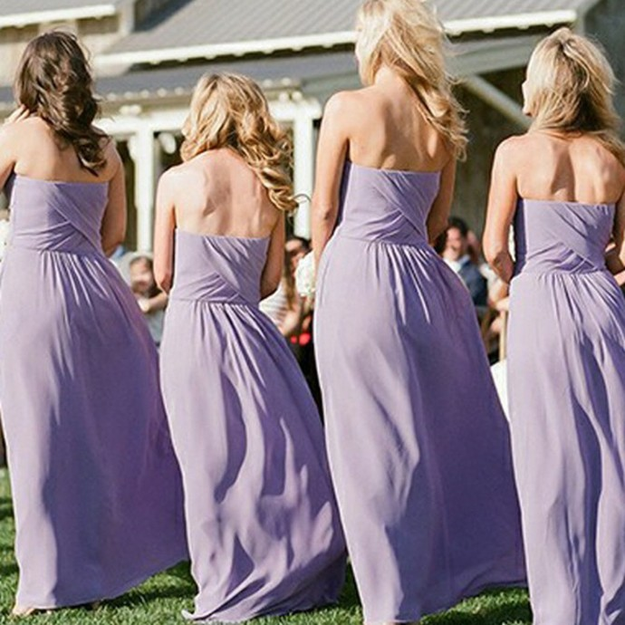 Sweetheart long bridesmaid dresses, simple chiffon wedding party dress for fall,
