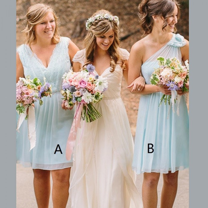 A-Line V-Neck Light Blue Short Chiffon Bridesmaid Dress with Lace