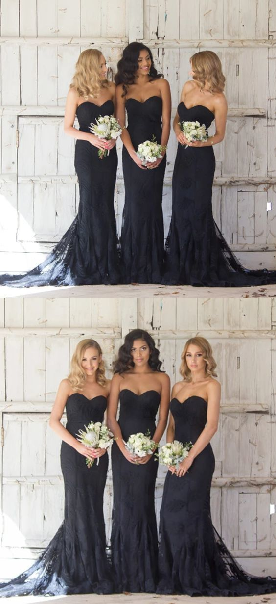 Long black bridesmaid dresses, modest mermaid bridesmaid dresses, sweetheart