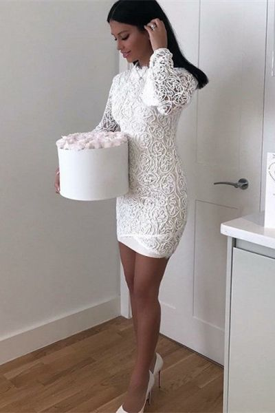8d2f4407d1d Sheath High Neck Long Sleeve White Lace Short by MeetBeauty on Zibbet