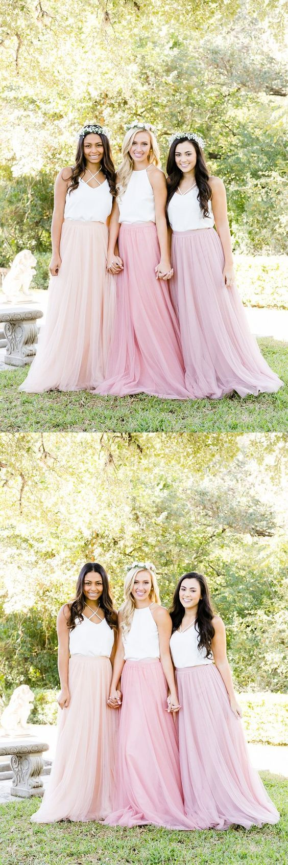 A-Line V-Neck Floor-Length Pearl Pink Bridesmaid Dress