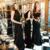A-Line High Neck Open Back Black Chiffon Bridesmaid Dress