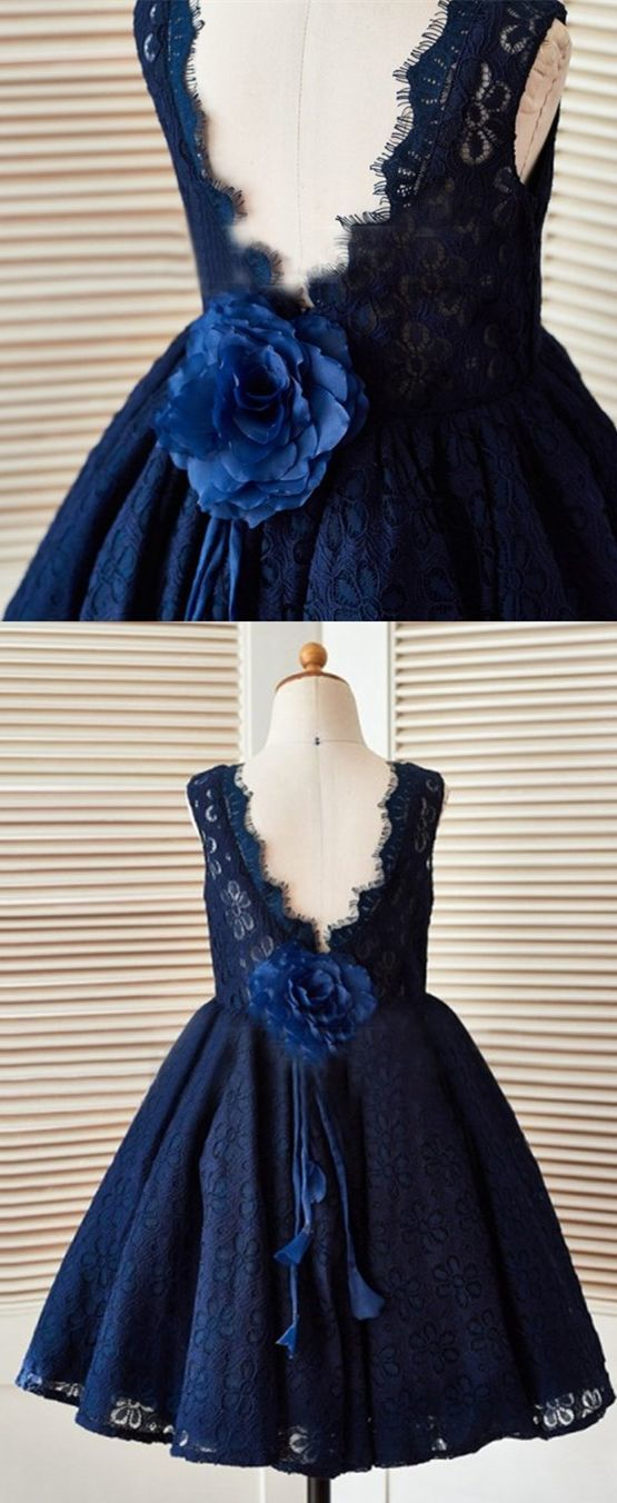 0125de3427e A-Line Jewel V-Back Navy Blue Lace Flower Girl by MeetBeauty on Zibbet