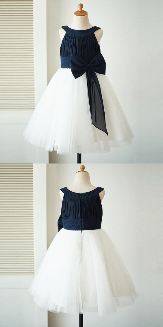 A line bateau white flower girl dress with navy by meetbeauty on a line bateau white flower girl dress with navy blue bow mightylinksfo