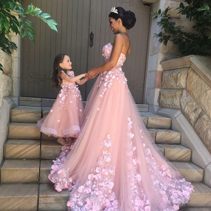 A line round neck pink tulle flower girl dress by meetbeauty on zibbet a line round neck pink tulle flower girl dress with appliques mightylinksfo Image collections