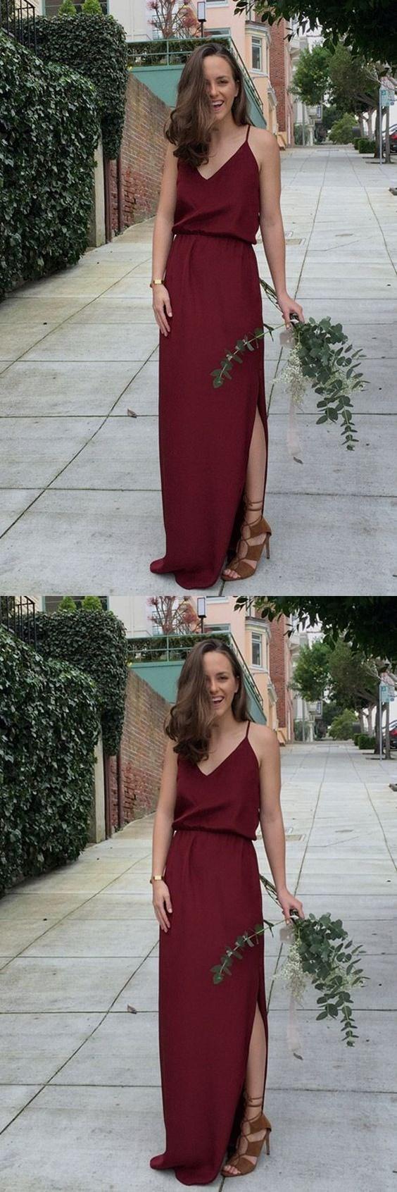 V-Neck Floor-Length Burgundy Bridesmaid Dress, Burgundy A-line Prom Dress