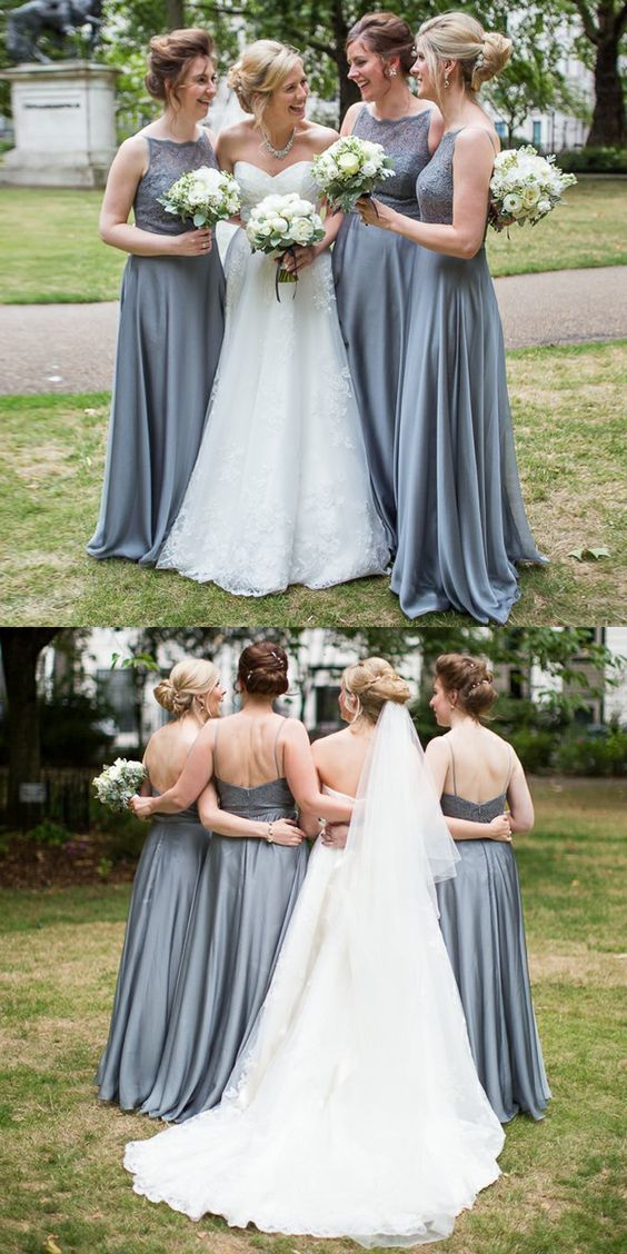 Simple grey bridesmaid dresses, long lace bodice bridesmaid dresses, backless