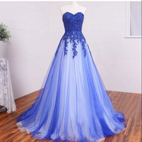 Long Sweetheart Lace Royal Blue Prom Dresses,Lace Up High Low Elegant Prom