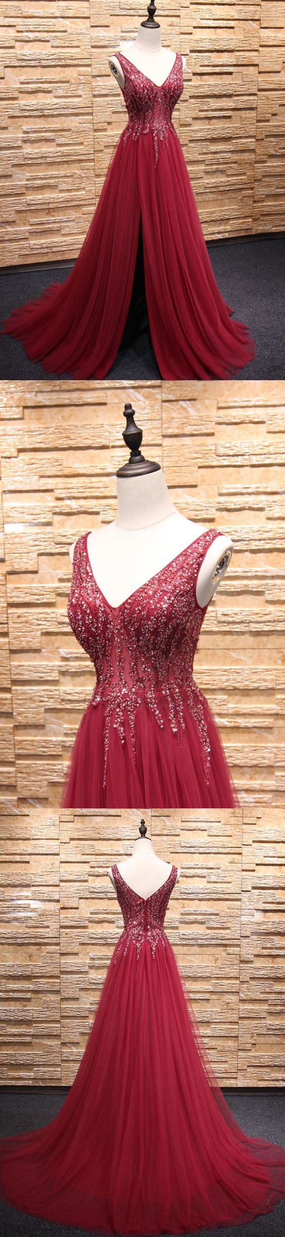 Red Lace Appliques Plunge V Sleeveless Floor Length Tulle A-Line Formal Dress,