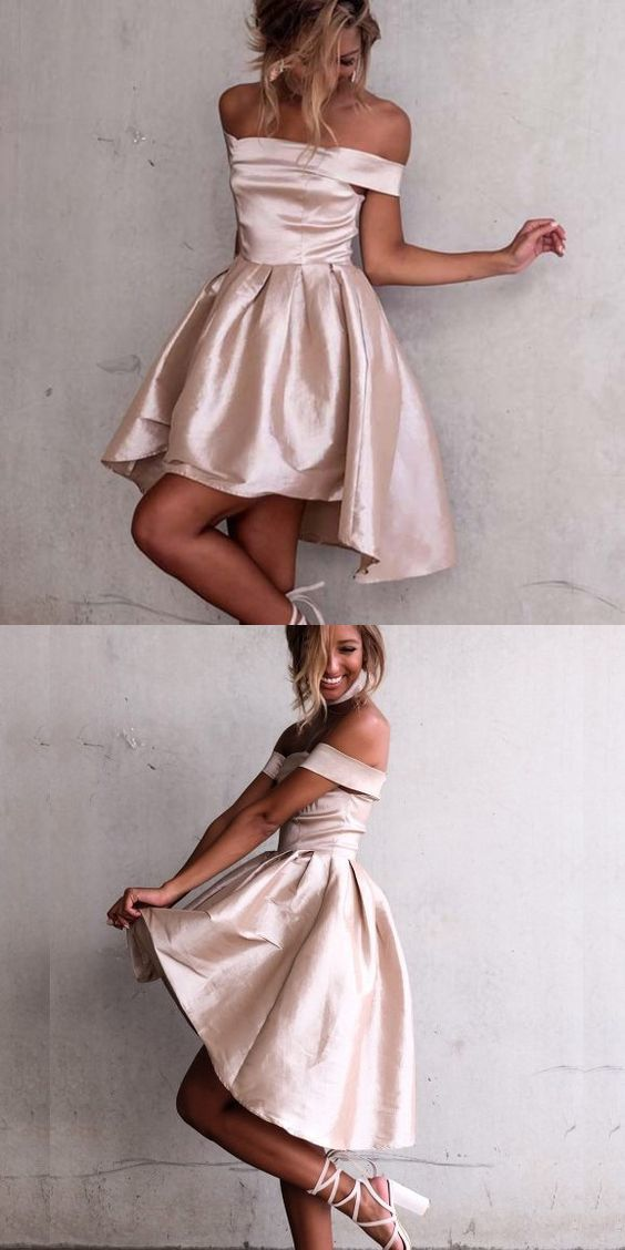 Short High Low Homecoming Dress, Off Shoulder by RosyProm on Zibbet