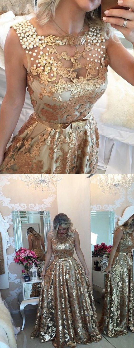 gold long prom dresses,prom dresses, gold sequins prom dresses, dresses for