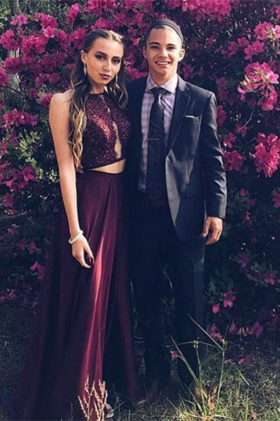 Two Piece A-Line Round Neck Burgundy Beaded Prom Dress with Lace, modest 2 piece