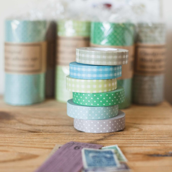 Classiky dot and grid washi tape - 13mm wide masking tape 15m - perfect for